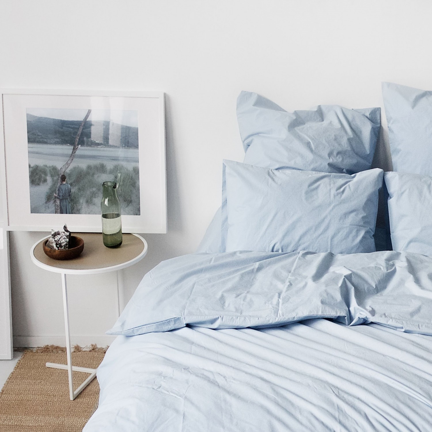 Percale Duvet Set - Light blue