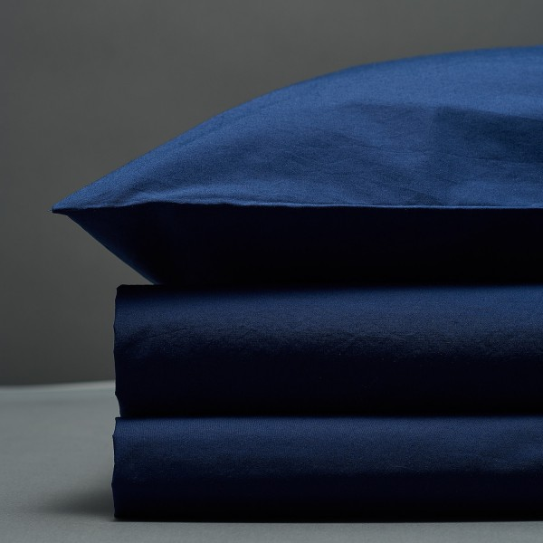 Percale Duvet Set - Navy