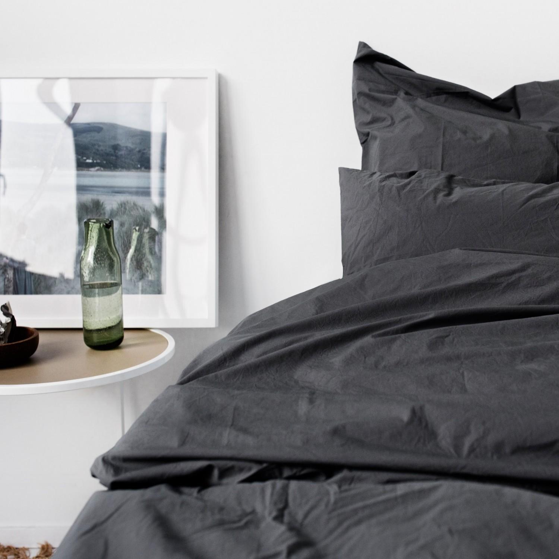 Percale Duvet Set - Dark grey