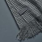 Alpaca throw (Houndstooth weave) - White & Grey