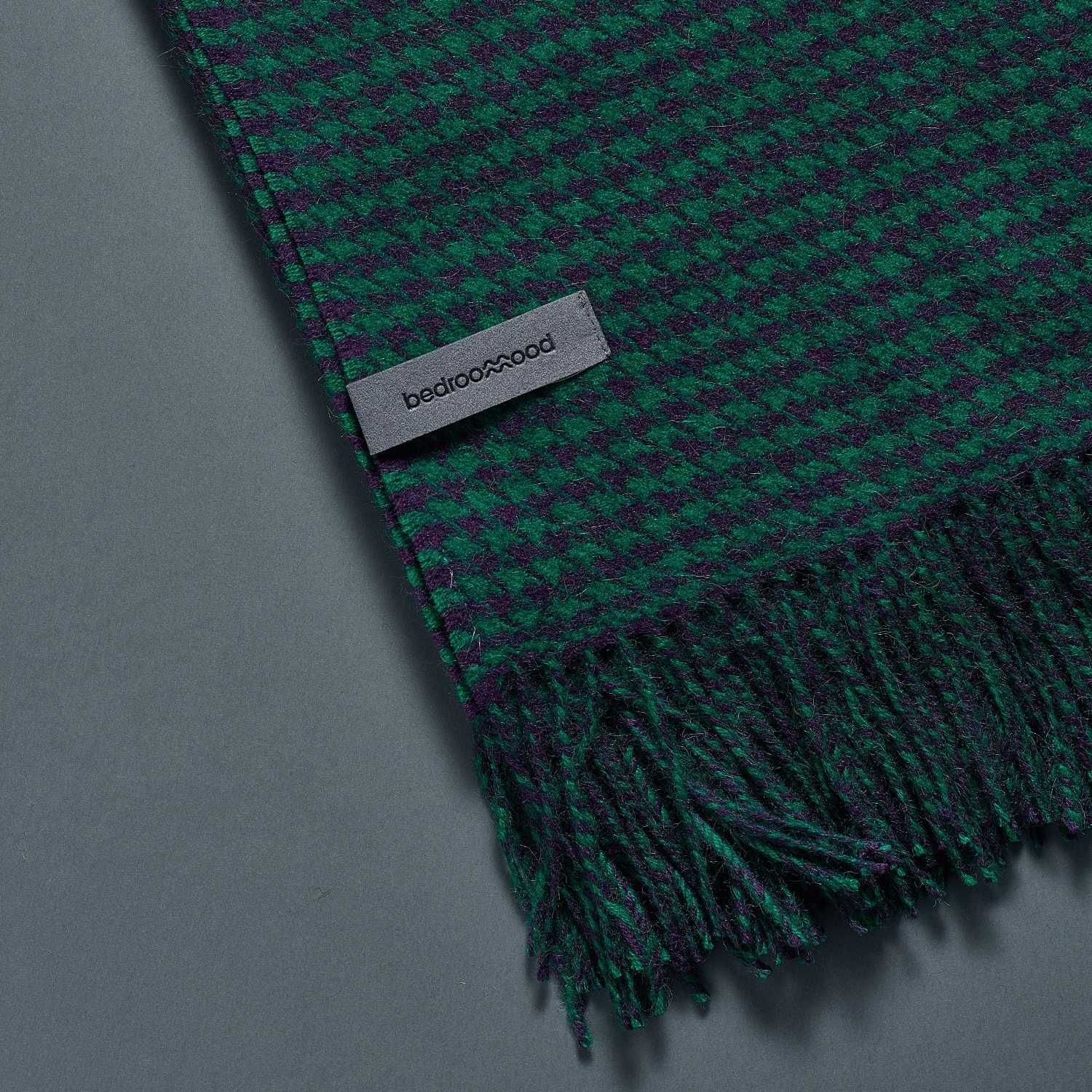 Alpaca Throw (Houndstooth Weave) - Green & Navy