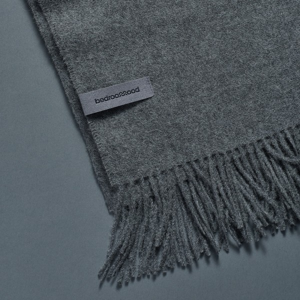 Alpaca Throw (Twill Weave) - Medium grey